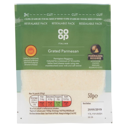 Picture of Co-op Italian Grated Parmesan 50g