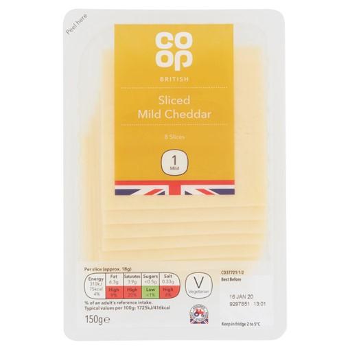 Picture of Co-op Sliced Mild Cheddar 150g