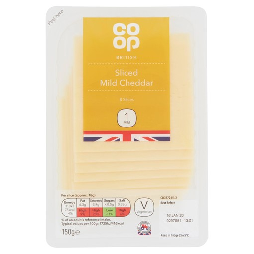 Picture of Co Op 8 British Sliced Mild Cheddar 150g