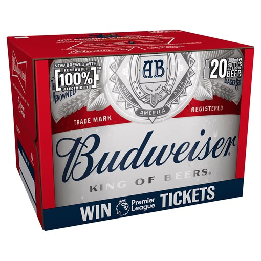 Picture of Budweiser Lager Beer Bottles 20 x 300ml