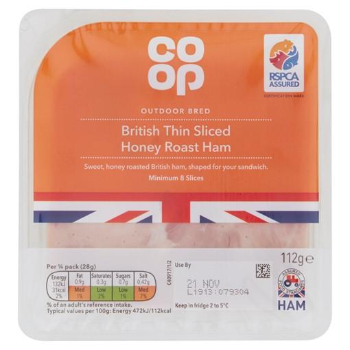 Picture of Co-op British Thin Sliced Honey Roast Ham 112g