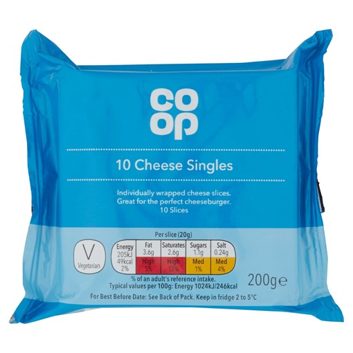Picture of Co Op Cheese Singles 10 Slices 200g