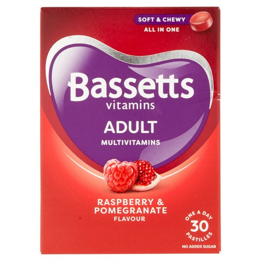 Picture of Bassetts Vitamins Multivitamins Raspberry & Pomegranate Flavour One a Day Adults 30 Soft & Chewies