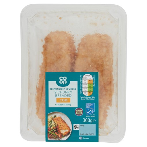 Picture of Co-op 2 Chunky Breaded Cod 300g