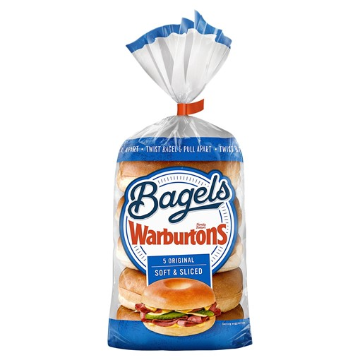 Picture of Warburtons Sliced Plain Bagels 5 Pack