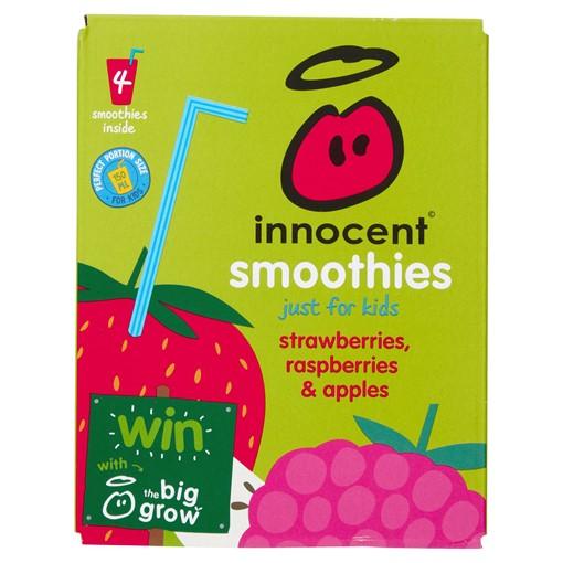 Picture of innocent kids smoothie strawberries, blackberries & raspberries 4 x 180ml