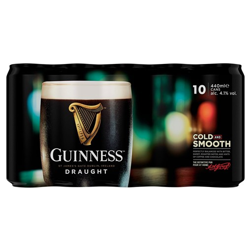 Picture of Guinness Draught Stout Beer 10 x 440ml Can