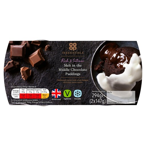 Picture of Co-op Irresistible Melt in the Middle Chocolate Puddings 2 x 147g (294g)