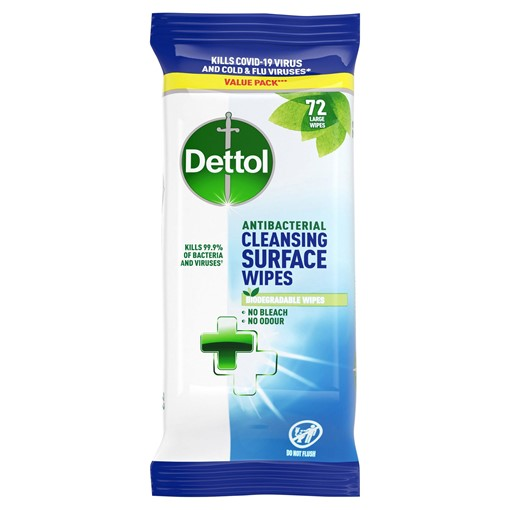 Picture of Dettol Antibacterial Cleansing Surface Wipes 72 Large Wipes