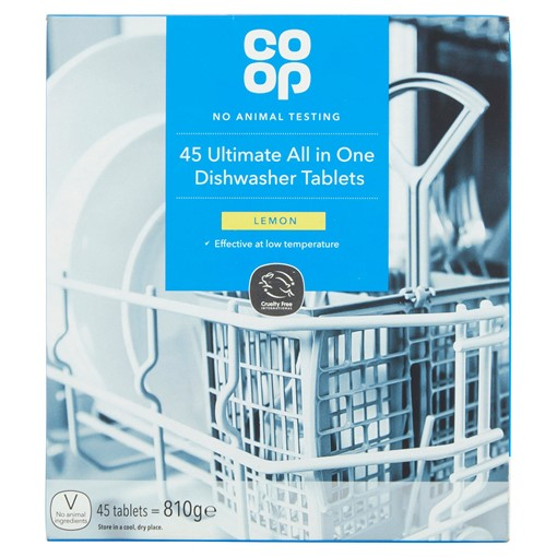 Picture of Co-op 45 Ultimate All in One Dishwasher Tablets Lemon 810g