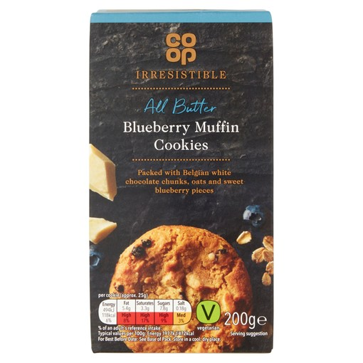 Picture of Co-op Irresistible Limited Edition All Butter White Chocolate & Blueberry Muffin Cookies 200g