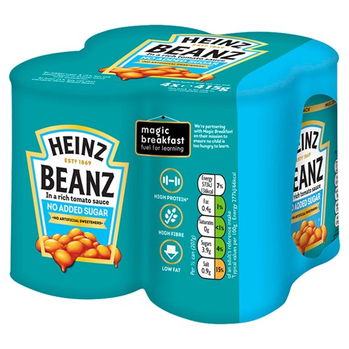 Picture of Heinz No Added Sugar Baked Beanz 4 x 415g