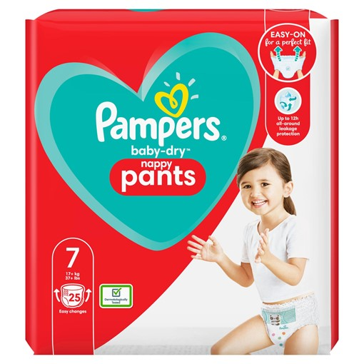 Picture of Pampers Baby-Dry Nappy Pants Size 7, 25 Nappies, 17kg+, Essential Pack