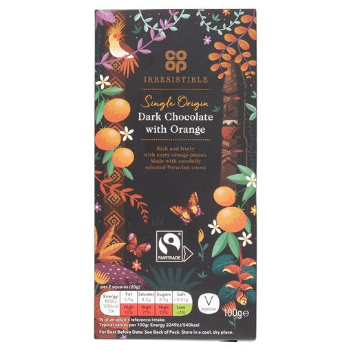 Picture of Co-op Irresistible Fairtrade 54% Cocoa Dark Chocolate with Orange 100g