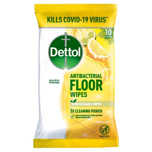 Picture of Dettol Floor Wipes Lemon & Lime 10 Extra Large Wipes