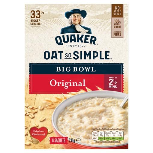Picture of Quaker Oat So Simple Big Bowl Original Porridge Sachets 6x38.5g