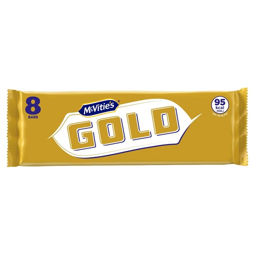 Picture of McVitie's Gold 8 Crunchy Biscuits 8 Bars with A Unique Gold Coating 142g