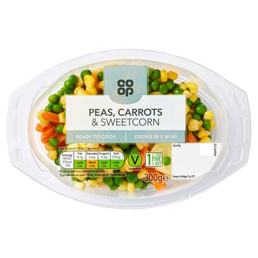 Picture of Co-op Peas, Carrots & Sweetcorn 300g