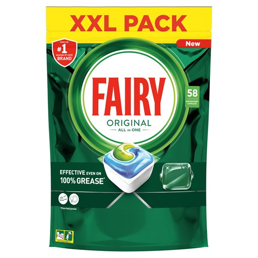 Picture of Fairy Original All In One Dishwasher Tablets, Regular, 58 Capsules