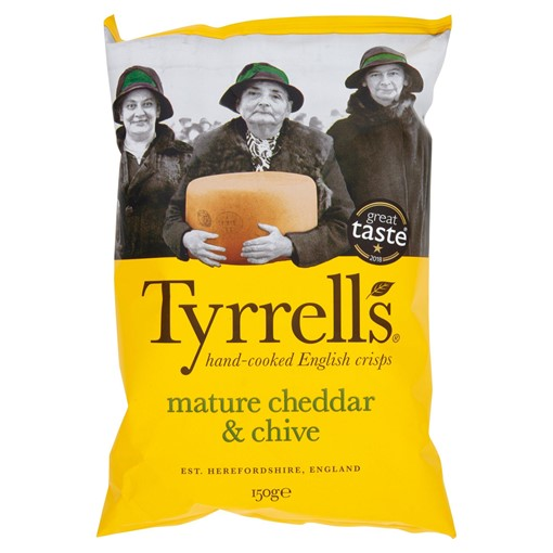 Picture of Tyrrells Hand-Cooked English Crisps Mature Cheddar & Chive 150g