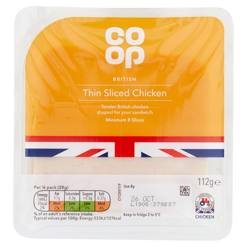 Picture of Co-op British Thin Sliced Chicken 8 Slices 112g