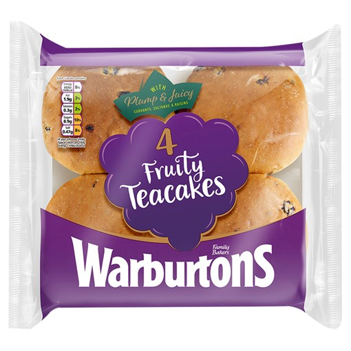 Picture of Warburtons 4 Fruity Teacakes