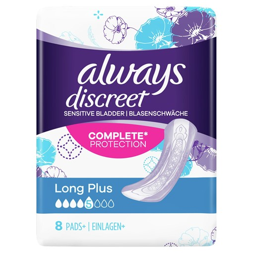 Picture of Always Discreet Incontinence Pads Plus Long Plus For Sensitive Bladder x8