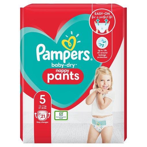 Picture of Pampers Baby-Dry Nappy Pants Size 5, 21 Nappies, 12kg-17kg, Carry Pack