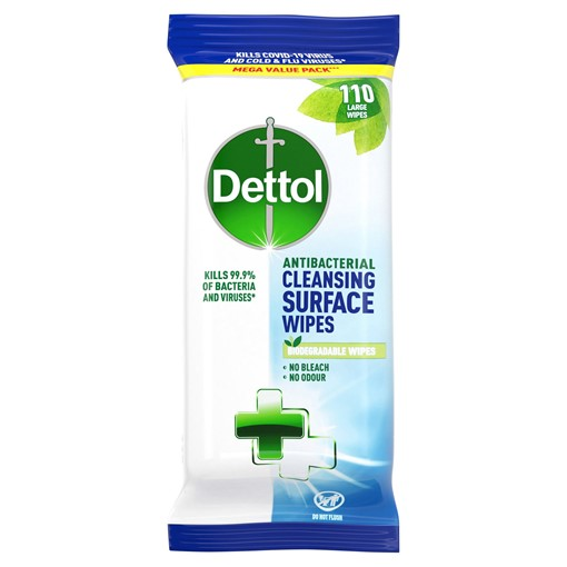 Picture of Dettol Antibacterial Cleansing Surface Wipes 110 Large Wipes