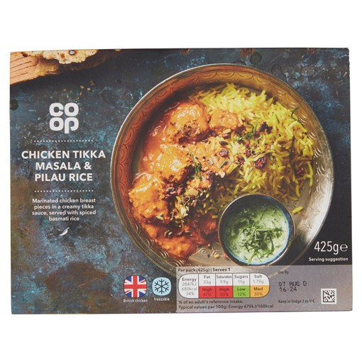 Picture of Co-op Chicken Tikka Masala & Pilau Rice 425g
