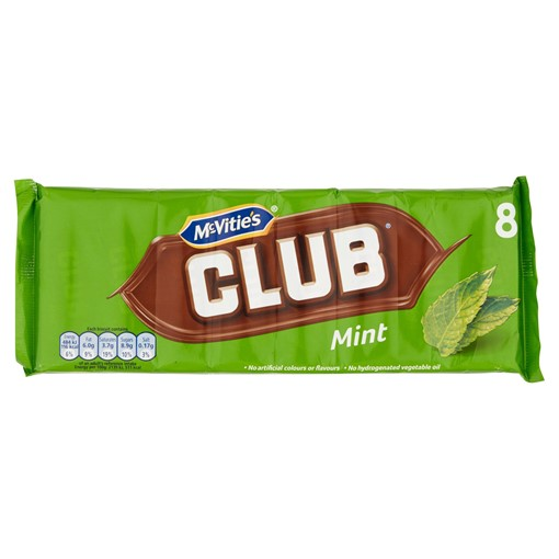 Picture of McVitie's Club Mint Flavour Biscuits 8 Pack (176g)