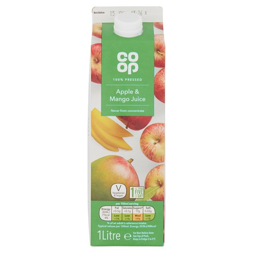 Picture of Co-op 100% Pressed Apple & Mango Juice 1 Litre