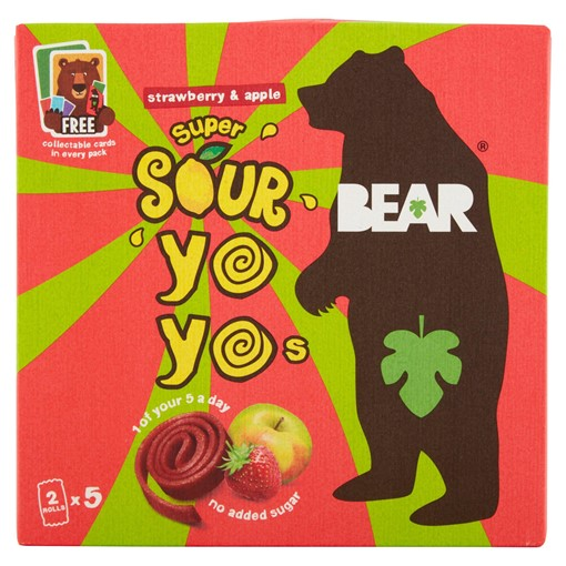 Picture of BEAR Strawberry & Apple Super Sour Fruit Rolls Yoyos 5 x 20g