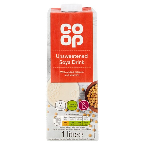 Picture of Co Op Unsweetened Soya Drink 1 Litre