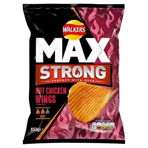 Picture of Walkers Max Strong Hot Chicken Wings Crisps 150g