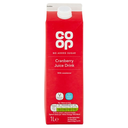 Picture of Co-op No Added Sugar Cranberry Juice Drink 1L