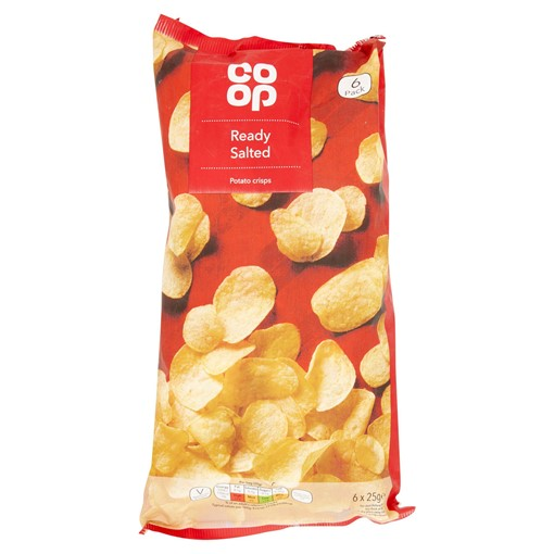 Picture of Co Op Ready Salted Potato Crisps 6 x 25g