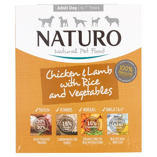 Picture of Naturo Natural Pet Food Chicken & Lamb with Rice and Vegetables Adult Dog 1 to 7 Years 400g
