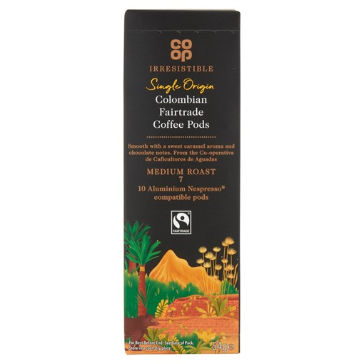 Picture of Co-op Irresistible Single Origin Colombian Fairtrade Coffee Pods 54g