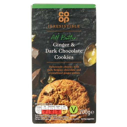 Picture of Co-op Irresistible All Butter Ginger & Dark Chocolate Cookies 200g
