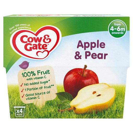 Picture of Cow & Gate Apple & Pear Fruit Puree Pots 4 x 100g