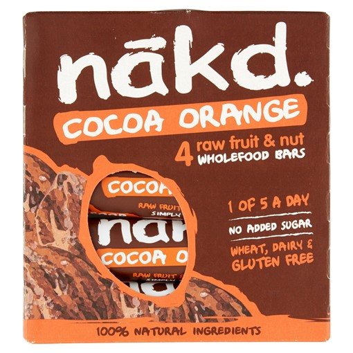 Picture of Nakd Cocoa Orange Fruit & Nut Bars 4 x 35g