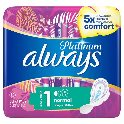 Picture of Always Platinum Normal (Size 1) Sanitary Towels Wings 12 Pads