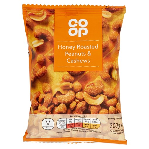 Picture of Co-op Honey Roasted Peanuts & Cashews 200g