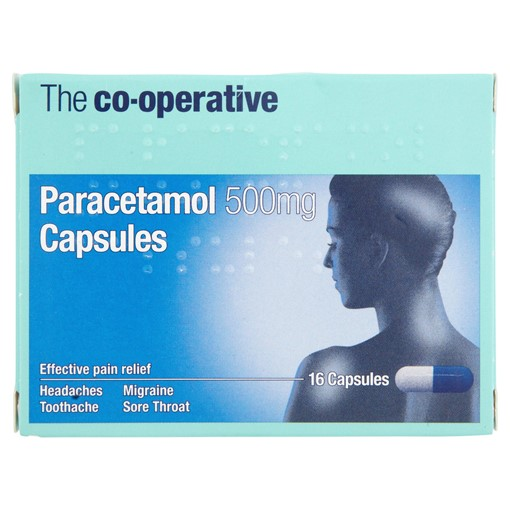 Picture of The Co-operative Paracetamol 500mg Capsules 16 Capsules