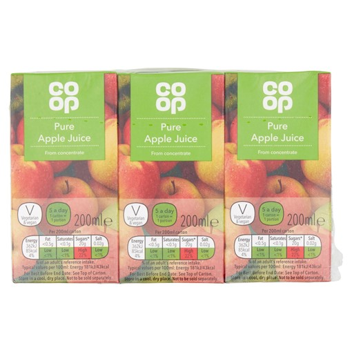 Picture of Co Op Pure Apple Juice 3 x 200ml