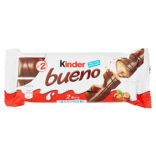 Picture of Kinder Bueno Milk Chocolate and Hazelnuts Single Bar 2 Finger x 21.5g (43g)