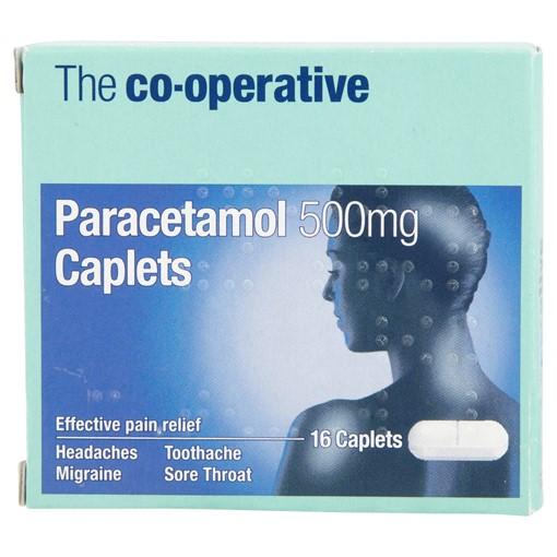 Picture of The Co-operative Paracetamol 500mg Caplets 16 Caplets