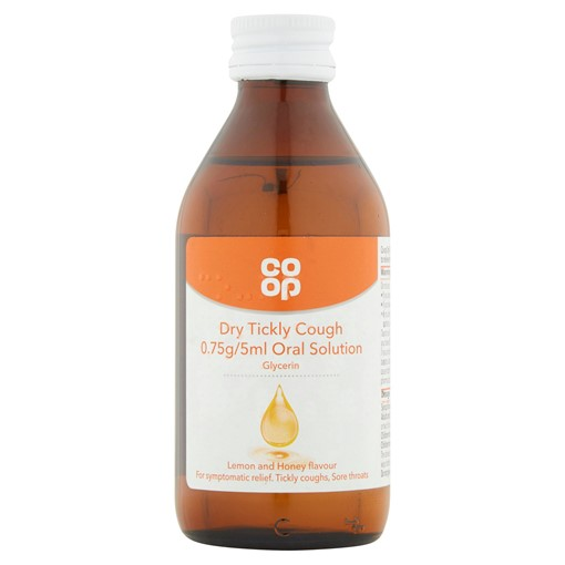 Picture of Co Op Dry Tickly Cough 0.75g/5ml Oral Solution Lemon and Honey Flavour 200ml