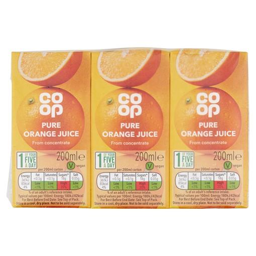 Picture of Co op Pure Orange Juice 3 x 200ml